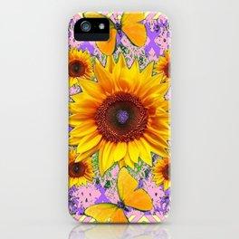 Purple Yellow Pattern  Butterflies Sunflowers Flowers Art iPhone Case