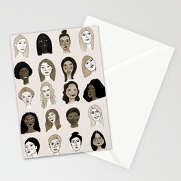 Women faces in sepia palette Stationery Cards