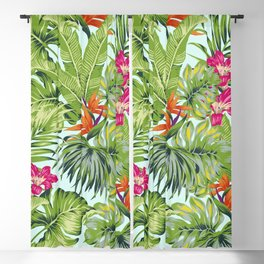 Bird of Paradise Greenery Aloha Hawaiiana Rainforest Tropical Leaves Floral Pattern Blackout Curtain