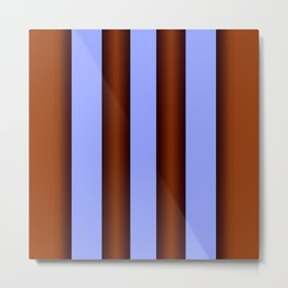 Bright Blue Brown Stripes Background Metal Print