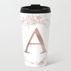 Letter A Rose Gold Pink Initial Monogram Metal Travel Mug
