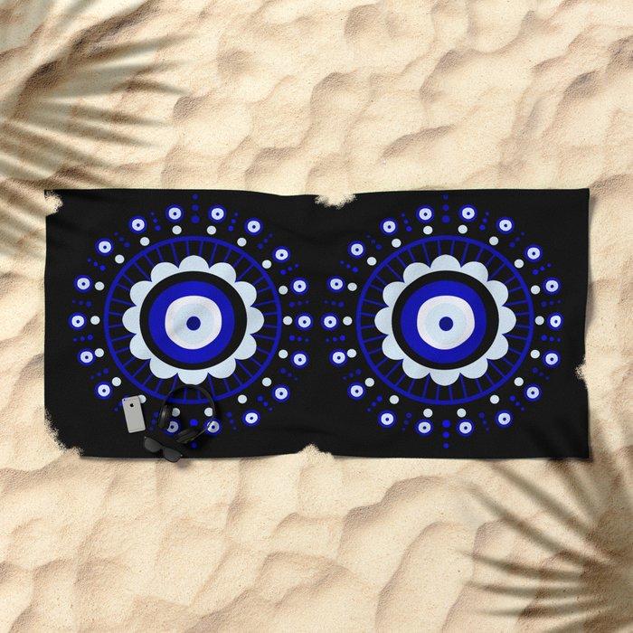Evil Eye Flower Burst Beach Towel