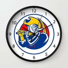 Illustration of a miner with pick Wall Clock