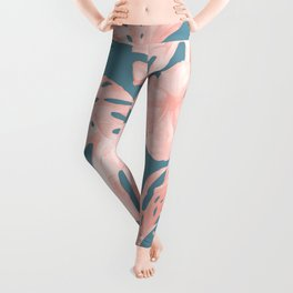 Tropical Palm Leaves and Hibiscus Pink Teal Blue Leggings