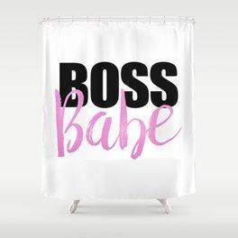 Boss Babe | Black & Pink Shower Curtain