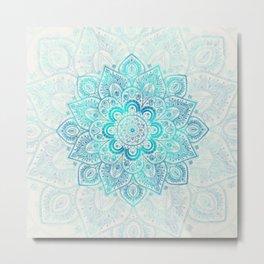 Turquoise Lace Mandala Metal Print