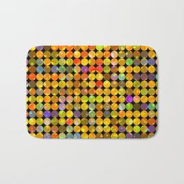 colorful geometric circle pattern abstract in orange yellow blue red Bath Mat