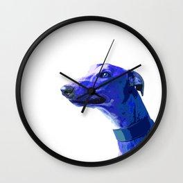 Greyhound. Blue dog Pop Art portrait. Hunting dog. Wall Clock