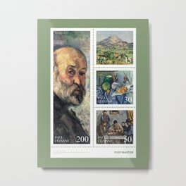 Paul Cezanne - Sheet of stamps dedicated to french Post-Impressionist painter (Issue 20-005) Metal Print