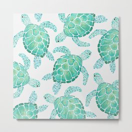 Sea Turtle Pattern - Blue Metal Print