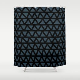 Petrol blue-green and black hand-drawn zig-zag- abstract Shower Curtain