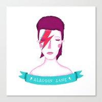 aladdin Canvas Prints featuring Aladdin Sane by Paula García