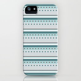 Squares and Stripes in Teal and Gray iPhone Case
