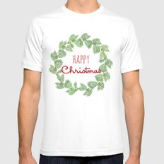 Happy Christmas wreath holly and berries White Mens Fitted Tee MEDIUM