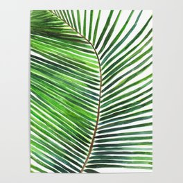 Palm watercolor leaf- Tropical print Poster