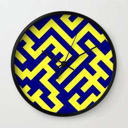 Electric Yellow and Navy Blue Diagonal Labyrinth Wall Clock