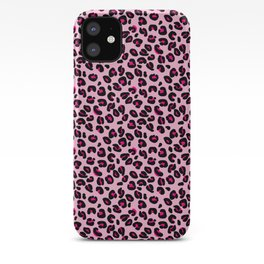 Cotton Candy Pink and Black Leopard Spots Animal Print Pattern iPhone Case