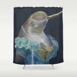 MADAME NARWHAL, by Frank-Joseph Shower Curtain