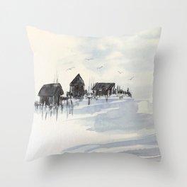 Fishing Village #fishing #watercolor Throw Pillow