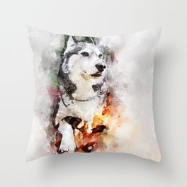 Tika'ani our Siberian Husky Throw Pillow
