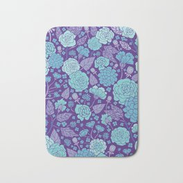 Bright Blue & Purple Floral Print Bath Mat