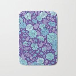 Bright Blue & Purple Floral Print Bath Mat