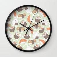 sushi Wall Clocks featuring Sushi by Kvachi