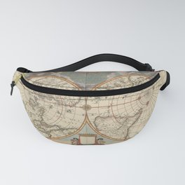 1672 World Polar Projection Map  Fanny Pack