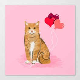 Orange Tabby ginger cats valentines day balloons hearts cat breeds must have gifts valentine's day Canvas Print