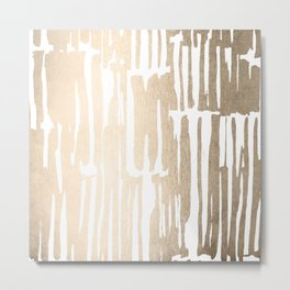 White Gold Sands Bamboo Stripes Metal Print