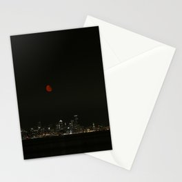 Smokey Moon over Seattle Stationery Cards