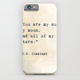 EE Cummings, Sun Moon Stars Quote, Love iPhone Case