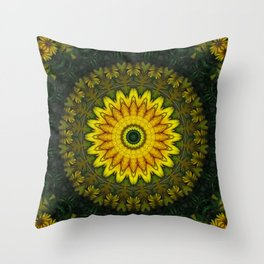 Large Yellow Wildflower Kaleidoscope Art 5 Throw Pillow