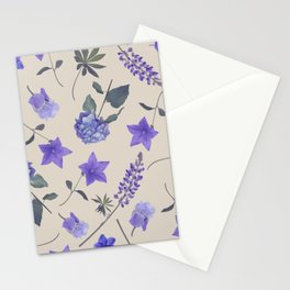 seamless   pattern of blue flowers . Endless texture Stationery Cards