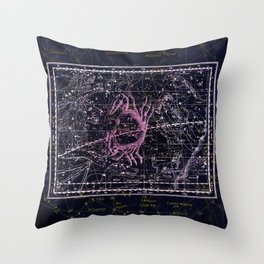Cancer | Constellation map | Zodiac | Sign sky | Stars | Universe Throw Pillow
