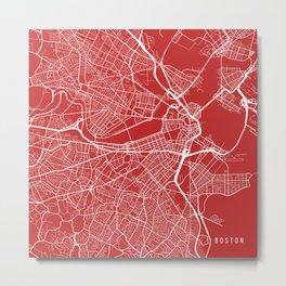 Boston Map, USA - Red Metal Print