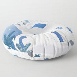 Vintage Santorini poster Floor Pillow