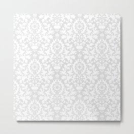 Vintage chic gray white abstract floral damask pattern Metal Print