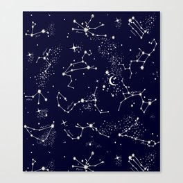 Zodiac Constellations in Night Navy Canvas Print