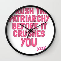 patriarchy Wall Clocks featuring Patriarchy by flightlesscas