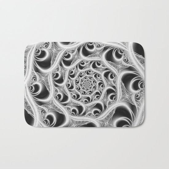 Fractal Web White on Black Bath Mat