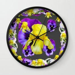 YELLOW IRIS PURPLE & WHITE PANSY GARDEN ART Wall Clock