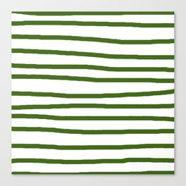 Simply Drawn Stripes in Jungle Green Canvas Print