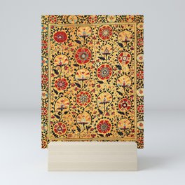 Shakhrisyabz Suzani  Antique Uzbekistan Embroidery Print Mini Art Print
