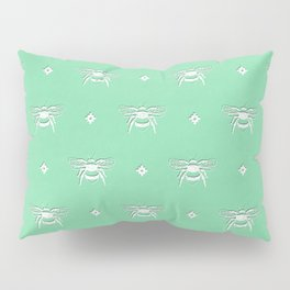 Bee Stamped Motif on Spearmint Pillow Sham
