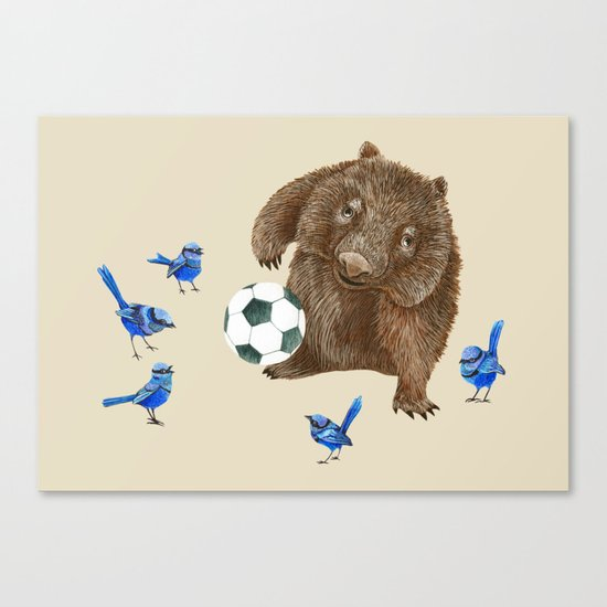 Blue wrens Wombat Football Canvas Print