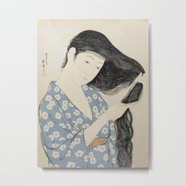 Hashiguchi Goyo: Woman Combing Her Hair Japanese Woodblock Print Blue Floral Kimono Black Hair Metal Print