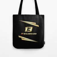 f1 Tote Bags featuring F1 2015 - #13 Maldonado by MS80 Design