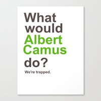 camus Canvas Prints featuring Camus by silentstead