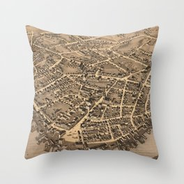 Vintage Pictorial Map of New London CT (1876) Throw Pillow